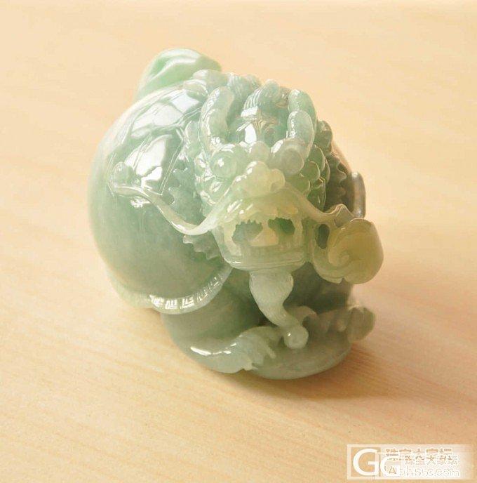冰糯种大气精致晴绿色龙头龟手玩件 天然A货翡翠_翡翠