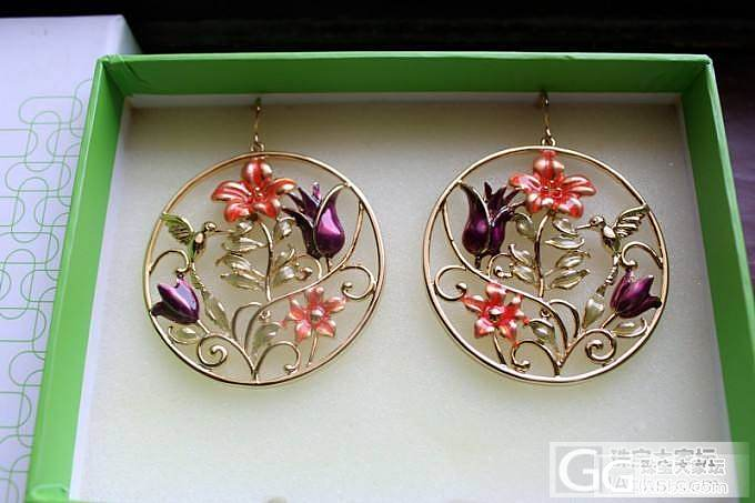 QGGLE娇酷 全新专柜正品 圆形花朵小鸟烤漆金色耳环 5折转_珠宝