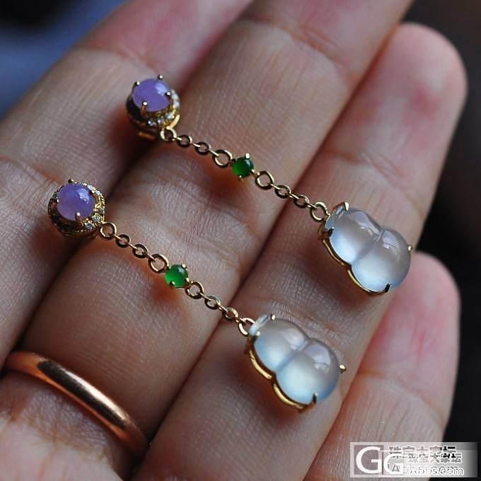 【幸福】老坑冰种起光紫罗兰,阳绿蛋,葫芦耳坠,18K黄金钻石镶_小凤眼菩提