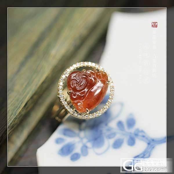 ★┋筆墨紫燕┋美美现代18K金配钻石镶嵌冰种红翡翡翠弥勒佛吊坠戒指两用款_翡翠