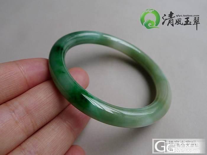 【清风玉翠】飘绿水头很好的圆条手镯/内径53.5mm_清风玉翠