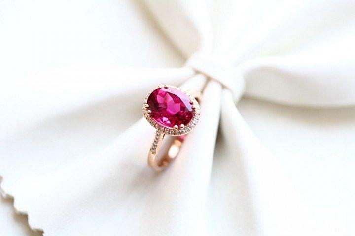 新出炉的非常干净的Rubellite 红碧玺戒指_宝石