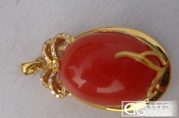 南红玛瑙18k黄金镶嵌女款吊坠_玛瑙