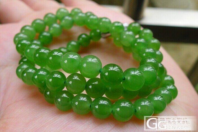 碧玉项链,手链,冰底老料 菠菜绿的 阳绿的!_翡翠