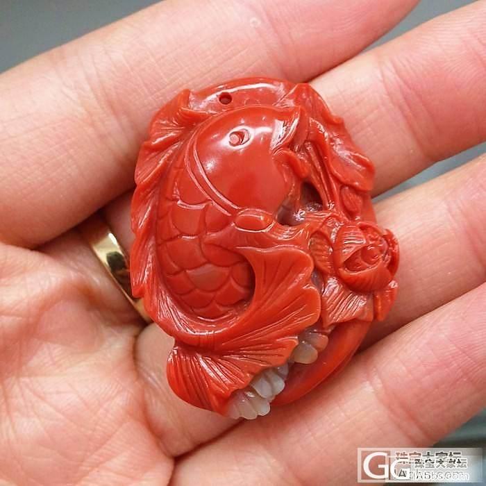 天然南红玛瑙雕件 鱼_玛瑙