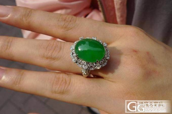 再一组重磅货:正阳绿大蛋面 天然翡翠戒指耳钉_珠宝