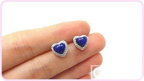心形控妹子猛戳,青金心形戒指仅99,耳钉129,还包邮_宝石