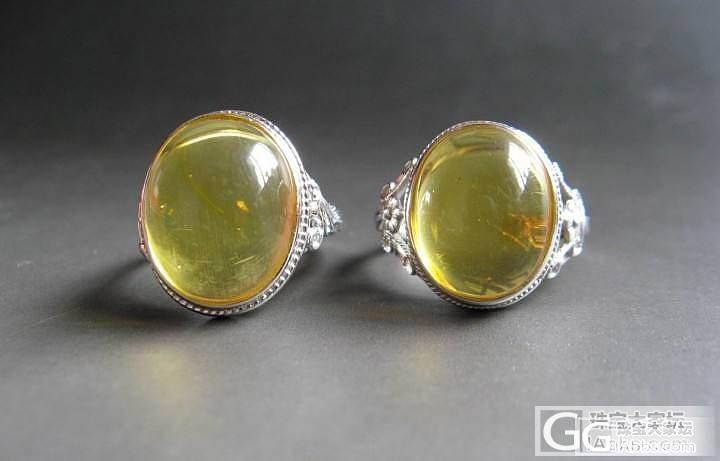 925 金珀 戒指 一对_珠宝