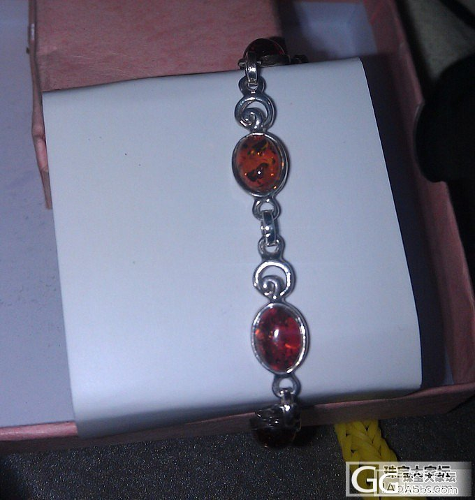 925银镶天然琥珀手链耳钉戒指套装,尼泊尔所购_有机宝石