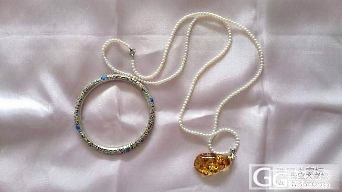 新图片,目前最喜欢的老银烧蓝手镯和迷你珍珠挂琥珀_琥珀手镯项链吊坠老银