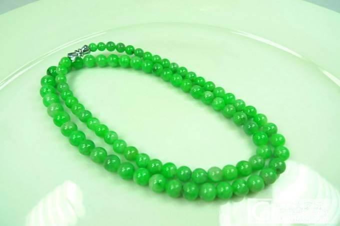 【翠星行】来看看满阳绿饱满翡翠A货圆珠项链带证书_翡翠