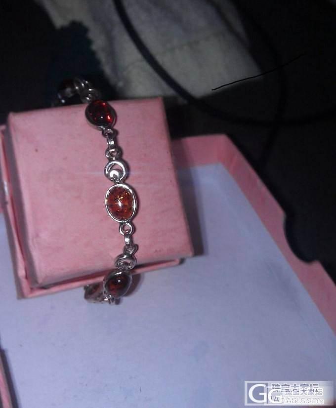 925银镶琥珀手链,戒指,耳钉三件套,_有机宝石