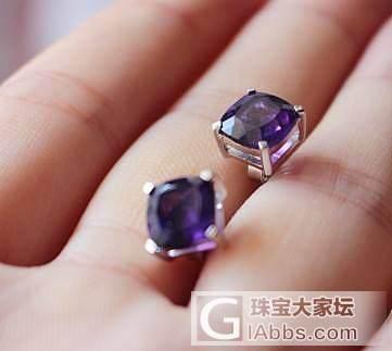 紫水晶耳钉~高品质戒面极 紫水晶纯银镶嵌耳钉 火彩好_宝石