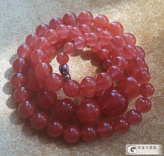 晒头像哈,巨巨的樱桃红联合料塔链_南红珠串