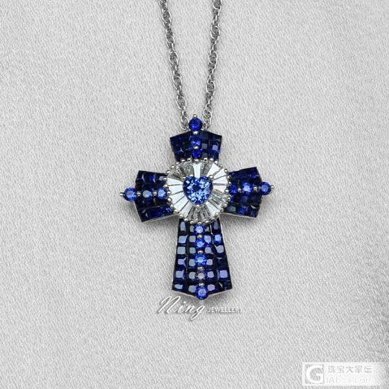 Ning Jewellery 心形蓝宝石镶钻石18K金十字架项链深邃蓝色无边镶_珠宝镶嵌