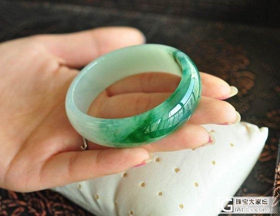 【双儿翡翠】两条宽版水墨绿贵妃镯_手镯翡翠双儿翡翠