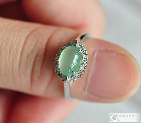 18K白金钻石绿水蛋面戒指_戒指翡翠双儿翡翠