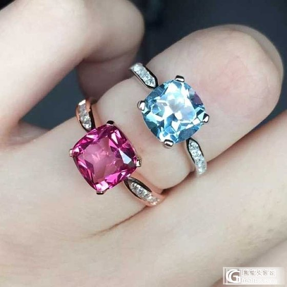 托帕石戒指,蓝色粉色不一样的美_美玉禅心珠宝