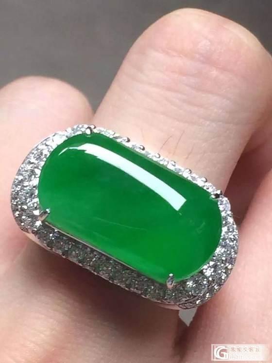 满绿的马鞍型翡翠戒指像块绿冰糖_戒指翡翠