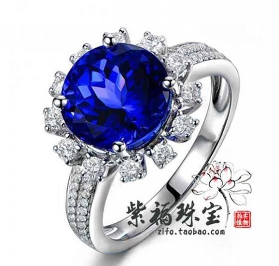 紫福珠宝定制工坊18K白金南非优质足反钻石5A级坦桑石_金