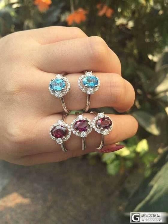 925银镶镀18K金戒指 石榴石 托帕石 橄榄石 紫水晶 黄水晶 价优_宝石