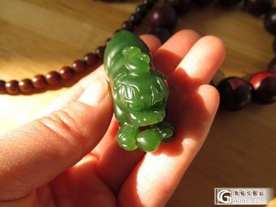 。。。波菜绿老料 貔貅小把件。。。_传统玉石