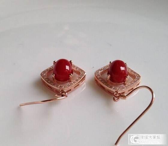 天然阿卡红珊瑚耳环 925银镀玫瑰金镶嵌 带国检证书_有机宝石