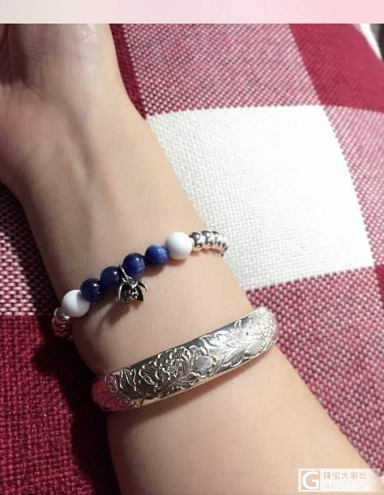 发个自己串的银链子吧,蓝白小清新_串珠银