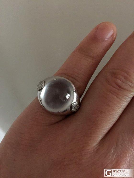 大爱!顶级白玻璃种大钢蛋戒指。_戒指蛋面翡翠