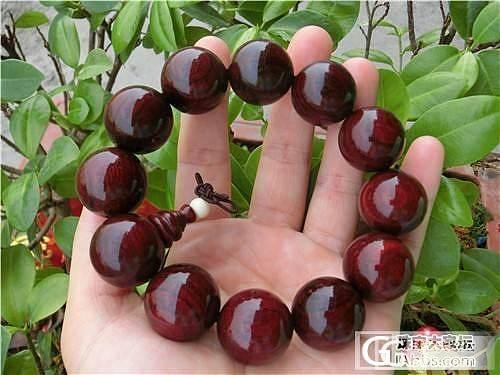 7.3特价出一串老料印度小叶紫檀20mm手串_珠宝