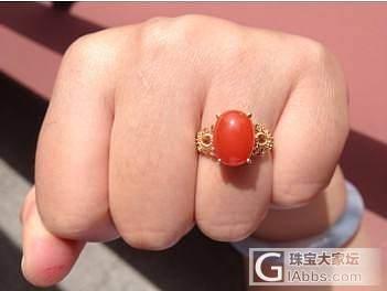 就想秀下这个戒指,喜欢的很捏。。。_戒指南红