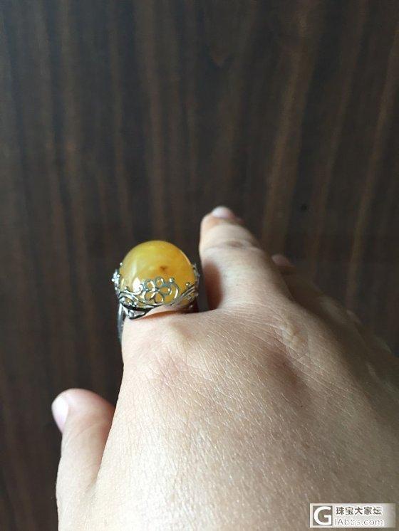 自磨一个大戒面,镶嵌归来_戒指蛋面蜜蜡