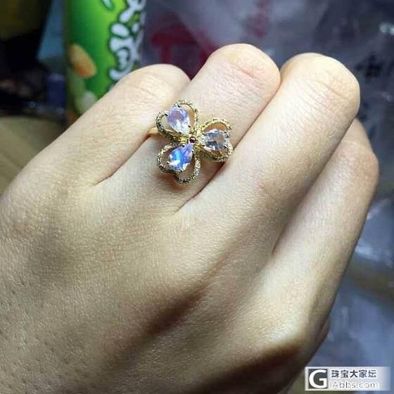 两枚月光花朵戒指_月光石