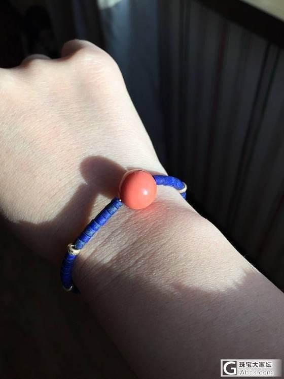 晒—粉嫩momo配青金石项链和手链:D,自己搭配手工串哒_珊瑚