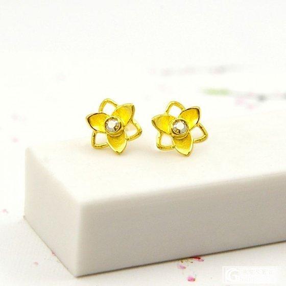 两朵金花,美美的(有闪必还)!_耳钉金