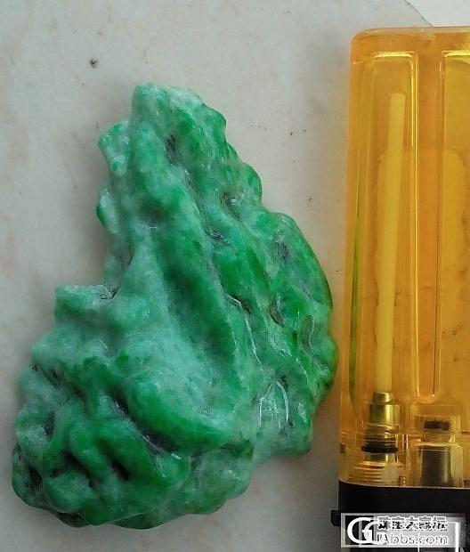 刚淘到一块满绿翡翠明料,可惜小了点才54克!_翡翠