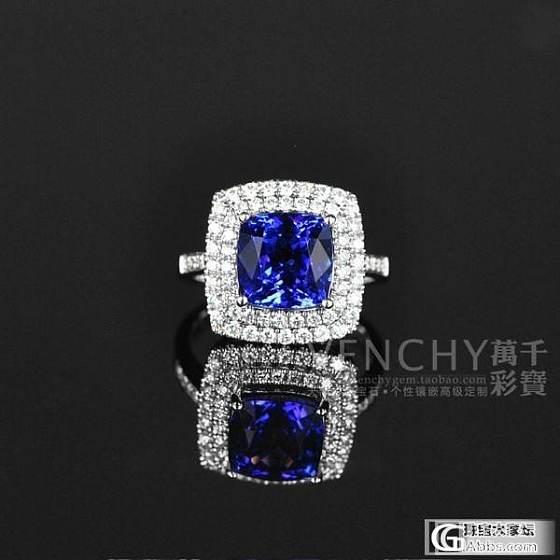 【镶嵌定制出货欣赏】18K白金坦桑石豪华群镶钻石戒指_宝石