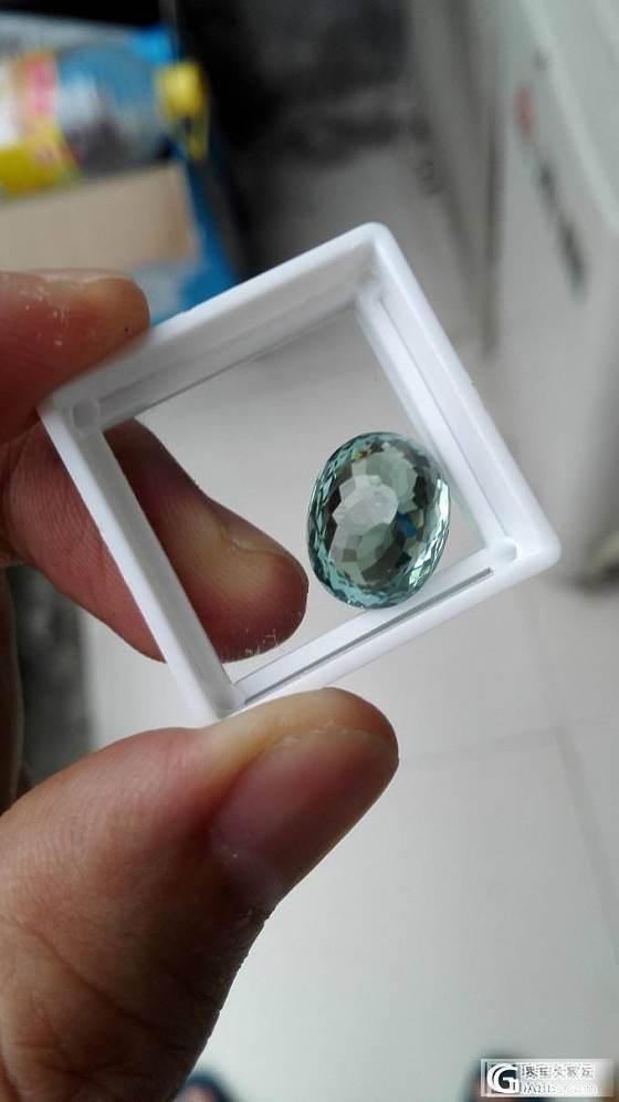 8.22克拉椭圆形肉眼全净清新蓝绿色碧玺,单价很低_宝石