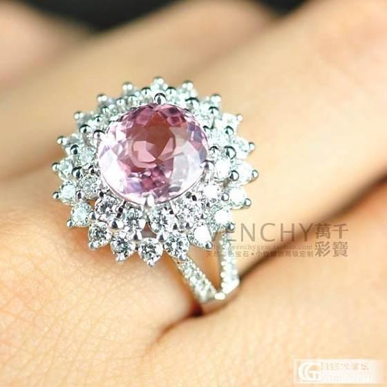 【镶嵌定制出货欣赏】18K白金粉色碧玺豪华群镶钻石戒指_宝石