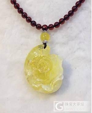 出售琥珀蜜蜡牡丹吊坠一款_有机宝石