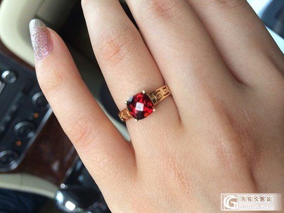 (已出)可乐团的18K回纹石榴石戒指_宝石
