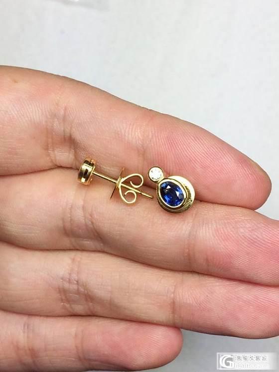 泰国顶级蓝宝石钻石18K黄金耳钉_博物馆