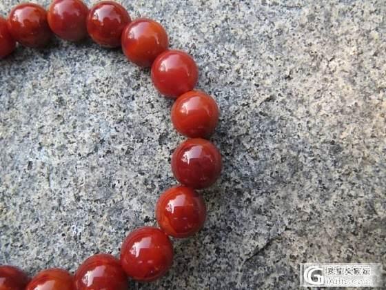 南红玛瑙-高品质玫瑰红柿子红双色手链/手串--9mm_传统玉石