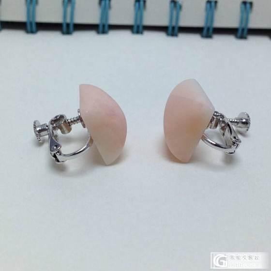 【安森】两对粉珊瑚耳夹特价出,一对700_有机宝石