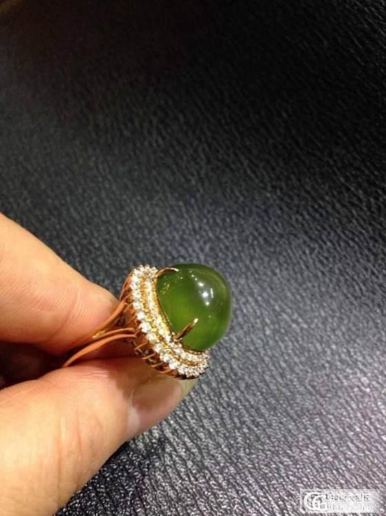 自家用葡萄石戒指,真金,真钻,真好看,请大家鉴赏_珠宝