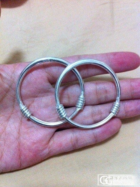 戴了两个多月的推圈和一对新的宝宝推圈_手镯银