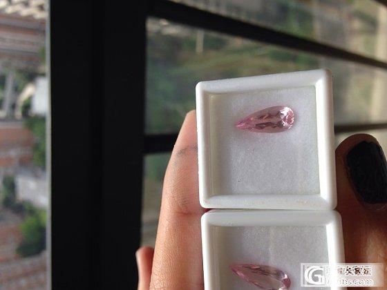 一对纯粉红色水滴摩根耳坠料到手_摩根石刻面宝石