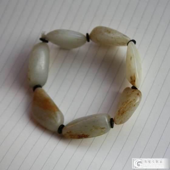 【暖枫阁】新淘的一串和田玉籽料原石手链 74g_传统玉石