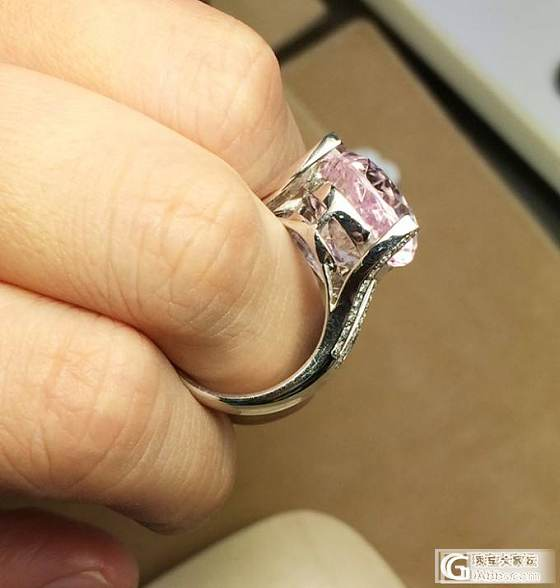 MGEMS独家设计 紫粉色锂辉石钻石白金戒指 独特大水滴切割_博物馆