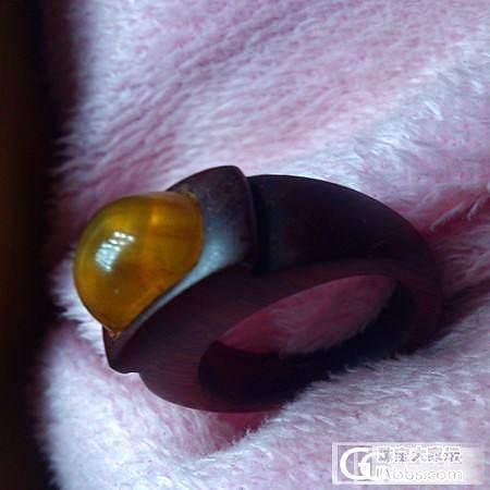 非洲小叶紫檀戒指镶琥珀_有机宝石